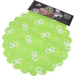 30-as Lime Zöld Szülinapi Kerek Dekorációs Textil - 48 cm-es, 24 db-os