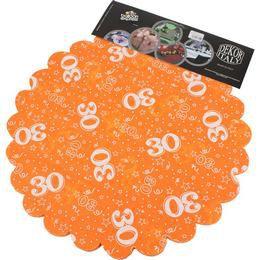 30-as Narancssárga Szülinapi Kerek Dekorációs Textil - 48 cm-es, 24 db-os