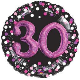30-as Pink 3D Hatású Szülinapi Számos Héliumos Fólia Lufi, 81 cm
