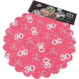 30-as Pink Szülinapi Kerek Dekorációs Textil - 48 cm-es, 24 db-os