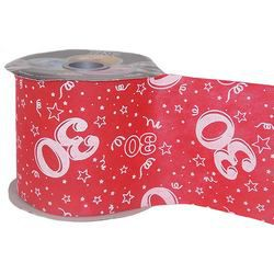 30-as Piros Szülinapi Dekorációs Szalag, 12,5 cm, 50 méteres