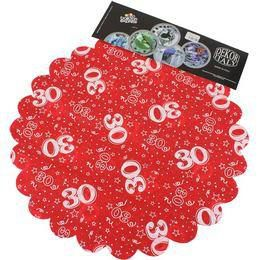 30-as Piros Szülinapi Kerek Dekorációs Textil - 48 cm-es, 24 db-os