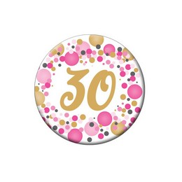 30-as Rózsaszín Pasztell Konfettis Kitűző