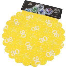 30-as Sárga Szülinapi Kerek Dekorációs Textil - 48 cm-es, 24 db-os