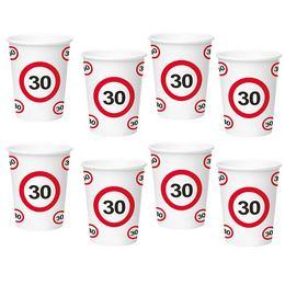 30-as Sebességkorlátozó Számos Szülinapi Papír Parti Pohár - 350 ml, 8 db-os
