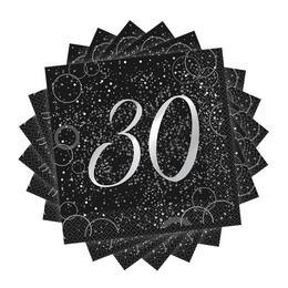 30-as Számos Szülinapi Ezüst Konfetti Mintás Fekete Szalvéta 16 db