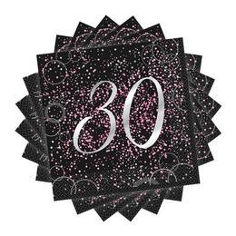 30-as Számos Szülinapi Pink Konfetti Mintás Fekete Szalvéta