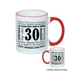 30-as Születésnapi Számos Egyedi Bögre