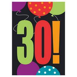 30-as Birthday Cheer Szülinapi Parti Meghívókártya és Boríték - 8 db-os