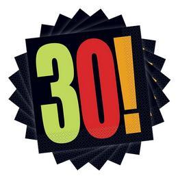 30-as Birthday Cheer Szülinapi Parti Szalvéta - 33 cm x 33 cm, 16 db-os