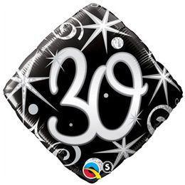 18 inch-es 30-as Elegant Sparkles and Swirls Szülinapi Héliumos Fólia Lufi