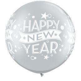 Szilveszteri - Happy New Year - Ezüst Lufi, 76 cm, 2 db