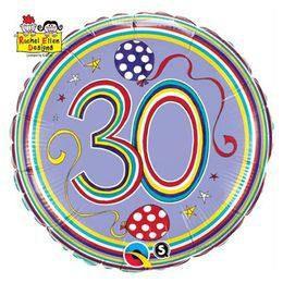18 inch-es 30-as Számos Polka Dots and Stripes Szülinapi Héliumos Fólia Lufi