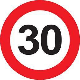 30-as Számos Sebességkorlátozó Közlekedési Tábla Szülinapra, 40 cm