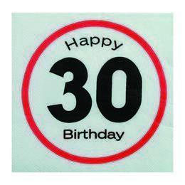 Happy Birthday 30-as Sebességkorlátozó Szülinapi Parti Szalvéta - 33 x 33 cm, 20 db-o