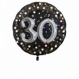 30-as 3D Hatású Szülinapi Számos Héliumos Fólia Lufi, 81 cm