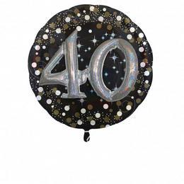 32 inch-es 3D - Sparkling Birthday 40 Super Shape Fólia Lufi