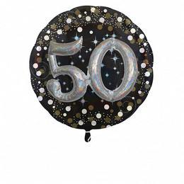 50-es 3D Hatású Szülinapi Számos Héliumos Fólia Lufi, 81 cm