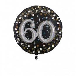 60-as 3D Hatású Szülinapi Számos Héliumos Fólia Lufi, 81 cm