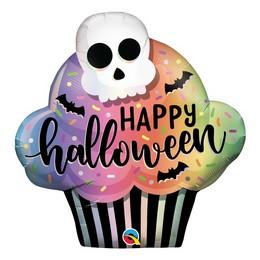 Koponya Mintás Muffin Alakú Héliumos Fólia Lufi Halloween-re, 84 cm