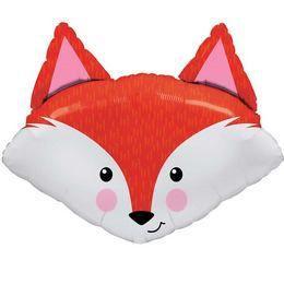 14 inch-es Fabulous Fox - Mosolygós Róka Fej Mini Shape Fólia Lufi Pálcán