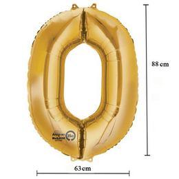 Arany 0-ás Számos Héliumos Fólia Lufi, 86 cm