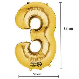 Arany 3-as Számos Héliumos Fólia Lufi, 86 cm