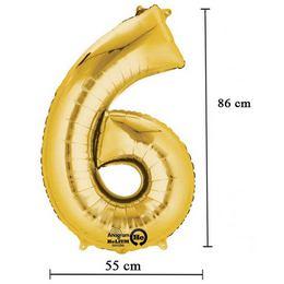Arany 6-os Számos Héliumos Fólia Lufi, 86 cm