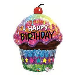 35 inch-es Birthday Dazzling Cupcake Holografikus Szülinapi Héliumos Fólia Lufi