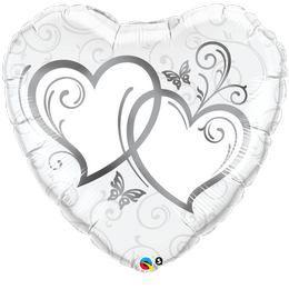 Ezüst Szíves Esküvői Héliumos Fólia Lufi, 91 cm