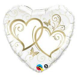 18 inch-es Entwined Hearts Gold Esküvői Szív Héliumos Fólia Lufi