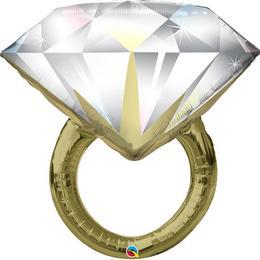 Gyémánt Gyűrűt Megformáló Héliumos Fólia Lufi, 94 cm