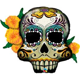 Koponyás - Day of the Dead Skull Fólia Lufi Halloween-re, 96 cm