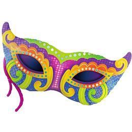 38 inch-es Mardi Gras Mask Super Shape Héliumos Fólia Lufi
