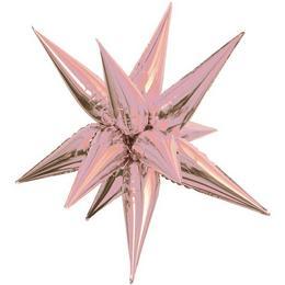 39 inch-es  3D Csillag Fólia Rózsaarany - Rose Gold Lufi