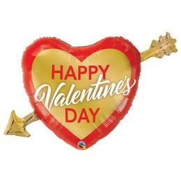 39 inch-es Arany Nyíllal Átlőtt Szív - Valentine's Golden Arrow Fólia Lufi
