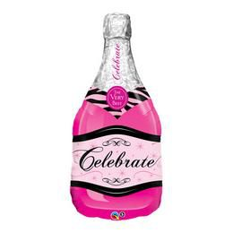 39 inch-es Bottle Celebrate Pink Bubbly Wine Héliumos Fólia Lufi