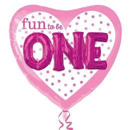 3D Hatású Első Születésnapi Szív Alakú Pink Héliumos Fólia Lufi, 91 cm