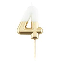 4-es Fehér Arany Színű Szülinapi Gyertya