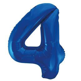 4-es Kék Számos Héliumos Fólia Lufi, 86 cm
