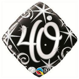 Elegáns Fekete 40-es Szülinapi Héliumos Fólia Lufi, 46 cm