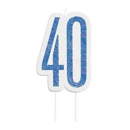 40-es Csillámos Kék Szülinapi Parti Számgyertya