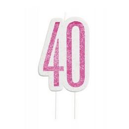 40-es Csillámos Pink Számgyertya