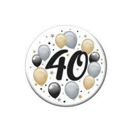 40-es Elegáns Léggömbös Szülinapi Kitűző