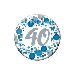 40-es Kék Pasztell Konfettis Kitűző