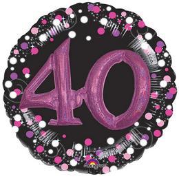 40-es Pink 3D Hatású Szülinapi Számos Héliumos Fólia Lufi, 81 cm