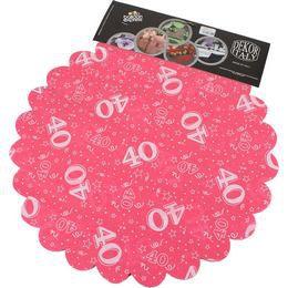 40-es Pink Szülinapi Kerek Dekorációs Textil - 48 cm-es, 24 db-os