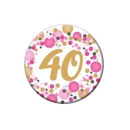 40-es Rózsaszín Pasztell Konfettis Kitűző