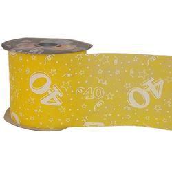40-es Sárga Szülinapi Dekorációs Szalag, 12,5 cm, 50 méteres