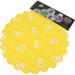 40-es Sárga Szülinapi Kerek Dekorációs Textil - 48 cm-es, 24 db-os